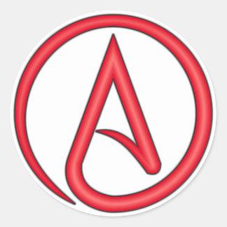 Scharlachrot Buchstabe-Atheisten-Symbol- Runder Aufkleber