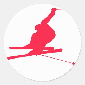Scharlachrot roter Schnee-Ski- Runde Sticker