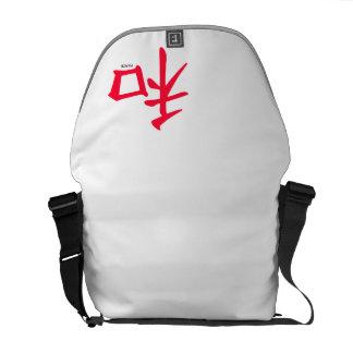 Scharlachrot rotes chinesisches Symbol für Frieden Kurier Taschen