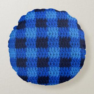 Schatten blauer Gingham-des karierten Rundes Kissen