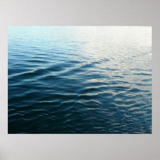 Schatten blaues Wasser-der abstrakten Poster