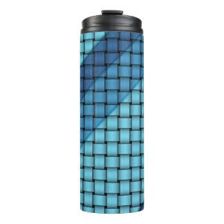 Schatten der blauen Korbgeflecht-Muster-Trommeln Thermosbecher