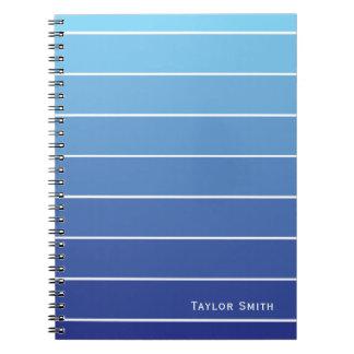 Schatten des blaue Streifen-Farben-Chips Spiral Notizblock