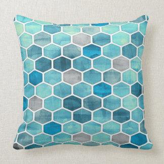 Schatten des blauen geometrischen Wurfs-Kissens Kissen