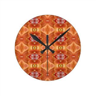 Schatten des orange Pfirsich-modernen festlichen Runde Wanduhr
