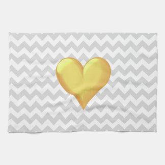 Schattiertes Herz lt-graues Weiß Zickzack goldenes Küchentuch