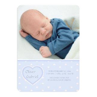 Schatz-blaue Foto-Geburts-Mitteilung Karte