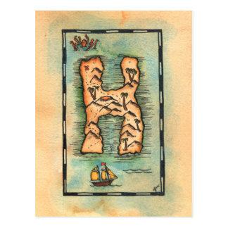 Schatz-Karte des Buchstabe-H Postkarte