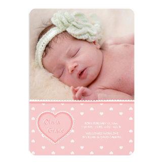 Schatz-rosa Foto-Geburts-Mitteilung Karte