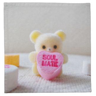 Schatzbärn-Valentinstag Soulmate-Rosasüßigkeit Serviette