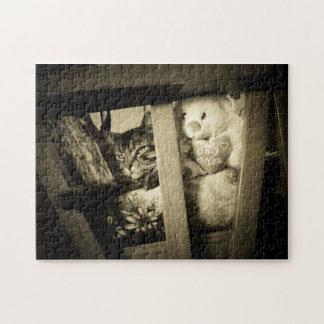 Schauen Sie dort Katze und Bären Puzzle