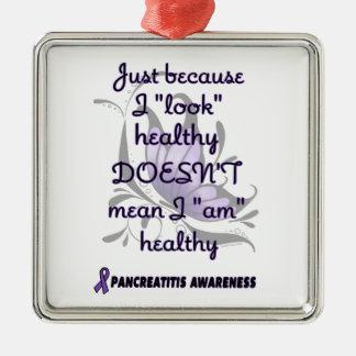 """""""Schauen Sie"""" gesunder/Schmetterling… Pancreatitis Silbernes Ornament"""