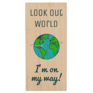 Schauen Sie heraus Welt Holz USB Stick