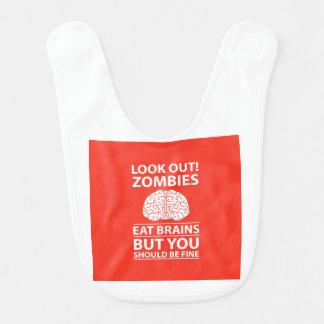 Schauen Sie heraus - Zombies essen Gehirn-Witz Lätzchen
