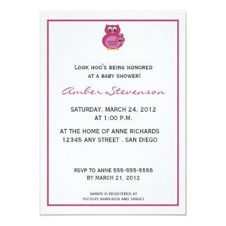 Schauen Sie Hoo Eulen-Babyparty Einladung-Beere 12,7 X 17,8 Cm Einladungskarte