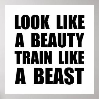 Schauen Sie Schönheits-Zug wie Tier Poster