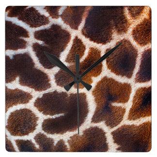Schauen Sie vom Afrika-Giraffen-Hauteffekt Quadratische Wanduhr