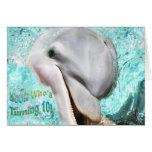 Schauen Sie, wer 10 dreht! Lächelnde Delphin-Karte