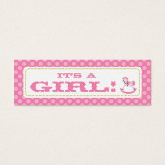 Schaukelpferd-Mädchen-dünner Geschenk-Umbau 2 Mini Visitenkarte
