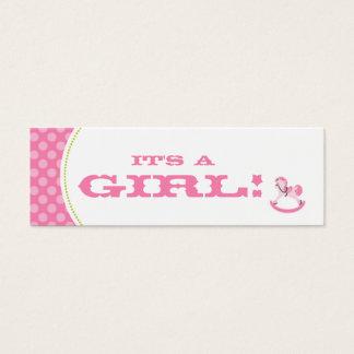 Schaukelpferd-Mädchen-dünner Geschenk-Umbau Mini Visitenkarte