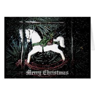 Schaukelpferd-Weihnachtskarte Mitteilungskarte