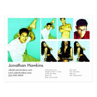 Schauspieler u. Modellweißer Headshot-Baut. Postkarten