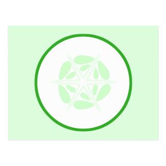 Scheibe der Gurke. Grün und Weiß Postkarte