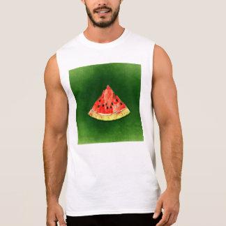 Scheibe der Wassermelone auf grünem Hintergrund Ärmelloses Shirt