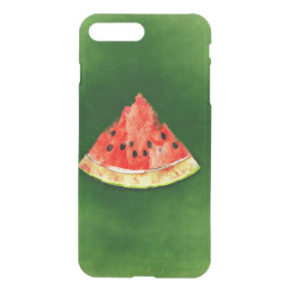 Scheibe der Wassermelone auf grünem Hintergrund iPhone 8 Plus/7 Plus Hülle