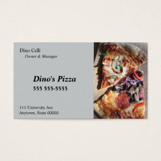 Scheiben der Pizza Visitenkarte