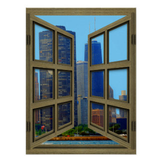 Scheiben-offenes Fenster-Plakat Johns Hancock Poster