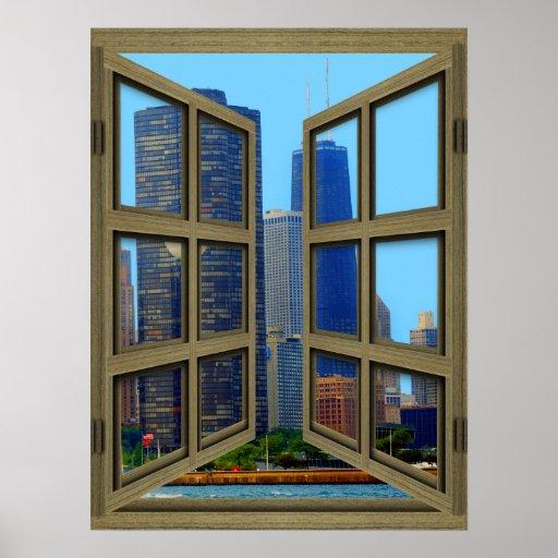 Scheiben-offenes Fenster-Plakat Johns Hancock Skyl