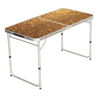 Schein-Glitter golden Beer Pong Tisch