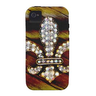 Schein-Juwel-Vintages rustikales Fleur De Liz Flor iPhone 4/4S Case
