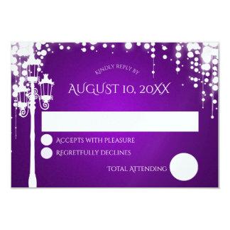 Schein-Lampen-Posten-lila Hochzeits-Wartekarte 8,9 X 12,7 Cm Einladungskarte