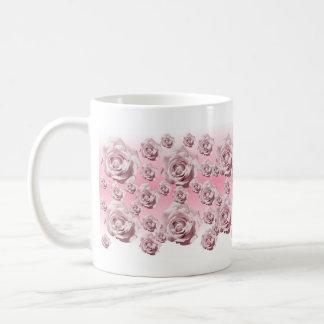 Schein-rosa Rosen Kaffeetasse