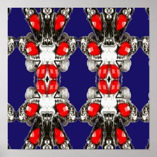 Schein-ROTE Perlen-Muster-Sammlungs-Herzschläge Poster