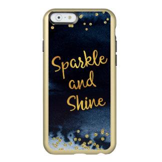 Schein und Glanz-Gold-u. Aquarell-Typografie-Kunst Incipio Feather® Shine iPhone 6 Hülle