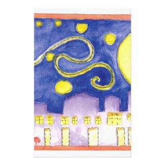 Scheinsternenklare Nacht u. Café van Gogh Briefpapier