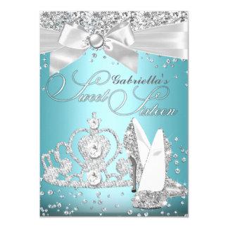 ScheinTiara u. Heels-16. Geburtstag-Blau 11,4 X 15,9 Cm Einladungskarte