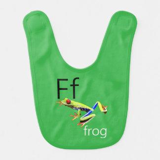 Schellfisch des grüner Frosch-Buchstabe-F Lätzchen