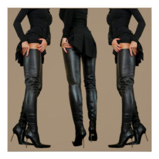Schenkel-hohe Stiefel-Modelle Poster