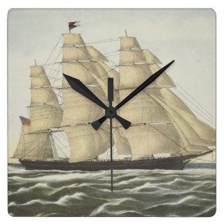 Scherer-Schiff, fliegende Wolke Quadratische Wanduhr