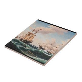 Scherer-Schiffs-Kriegs-Seekampf-Ozean-Fliese Keramikfliese