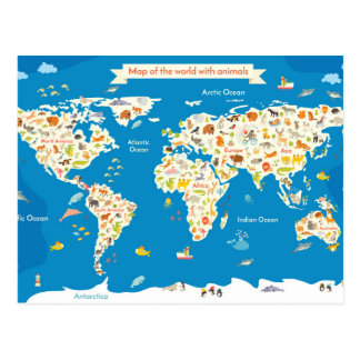 Scherzt Karte der Welt mit Tieren