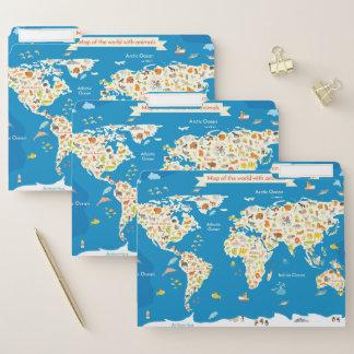 Scherzt Karte der Welt mit Tieren Papiermappe