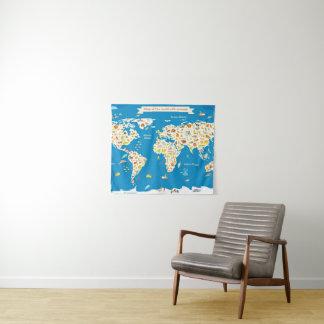 Scherzt Karte der Welt mit Tieren Wandteppich
