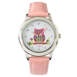 Scherzt niedlichen Eulen-Namearmbanduhr-Rosabügel Uhr