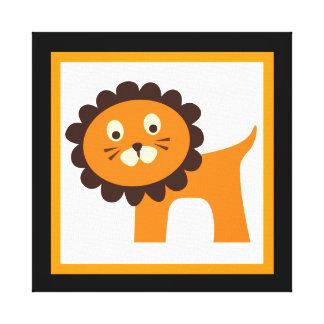 Scherzt niedlicher Löwe eingewickelte Leinwand Wan Leinwanddruck