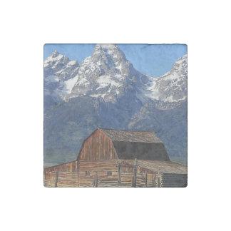 Scheune großartige Tetons Berge Steinmagnet